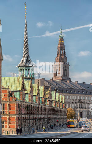 COPENHAGEN, DENMARK - SEPTEMBER 21, 2019: The former stock exchange building next to christianborg palace. - Stock Photo