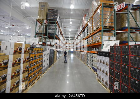 Interior view of the first brick-and-mortar store of Costco in the Chinese mainland in Minhang district, Shanghai, China, 20 August 2019.   Global mem - Stock Photo