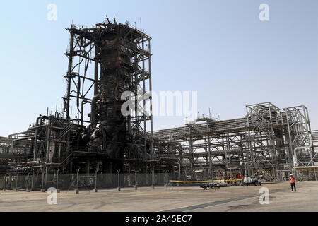 Khurais, Saudi Arabia. 12th Oct, 2019. EASTERN PROVINCE, SAUDI ARABIA - OCTOBER 12, 2019: A damaged object at an oil processing facility of Saudi Aramco, a Saudi Arabian state-owned oil and gas company, at the Khurais oil field. On 14 September 2019, two of the major Saudi oil facilities, Abqaiq and Khurais, suffered massive attacks of explosive-laden drones and cruise missiles; the Houthi movement, also known as Ansar Allah, claimed responsibility for the attacks. Stanislav Krasilnikov/TASS Credit: ITAR-TASS News Agency/Alamy Live News - Stock Photo