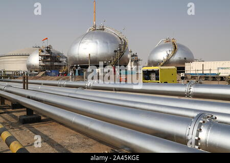 EASTERN PROVINCE, SAUDI ARABIA - OCTOBER 12, 2019: Damaged objects at an oil processing facility of Saudi Aramco, a Saudi Arabian state-owned oil and gas company, at the Abqaiq oil field. On 14 September 2019, two of the major Saudi oil facilities, Abqaiq and Khurais, suffered massive attacks of explosive-laden drones and cruise missiles; the Houthi movement, also known as Ansar Allah, claimed responsibility for the attacks. Stanislav Krasilnikov/TASS - Stock Photo