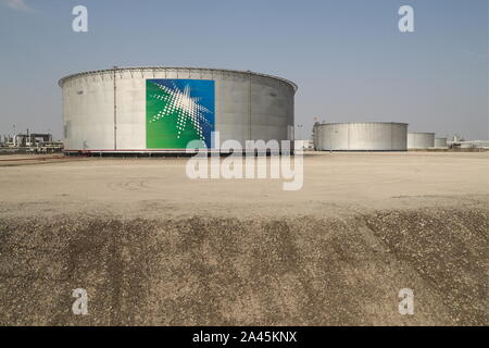 Abqaiq, Saudi Arabia. 12th Oct, 2019. EASTERN PROVINCE, SAUDI ARABIA - OCTOBER 12, 2019: Oil tanks at an oil processing facility of Saudi Aramco, a Saudi Arabian state-owned oil and gas company, at the Abqaiq oil field. On 14 September 2019, two of the major Saudi oil facilities, Abqaiq and Khurais, suffered massive attacks of explosive-laden drones and cruise missiles; the Houthi movement, also known as Ansar Allah, claimed responsibility for the attacks. Stanislav Krasilnikov/TASS Credit: ITAR-TASS News Agency/Alamy Live News - Stock Photo