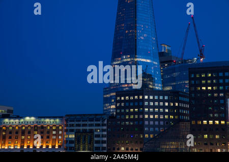 The Shard & London Bridge Hospital at 'Blue Hour' Stock Photo