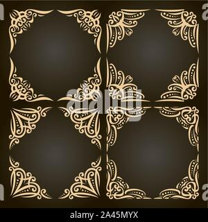 Vector set of decorative golden frames on dark, ornate decoration with flourishes for wedding invitation, 4 vintage borders with curls and dots, ornam - Stock Photo