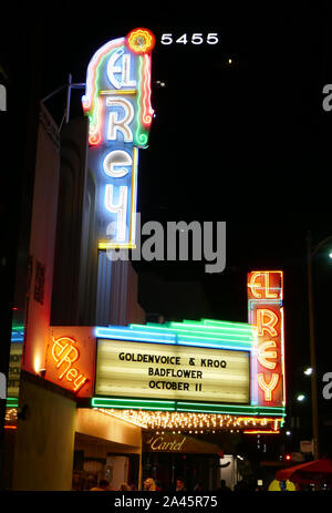 Los Angeles, California, USA 11th October 2019 A general view of atmosphere of marquee at Badflower concert on 'OK Im Sick' Tour on October 11, 2019 at El Rey Theatre in Los Angeles, California, USA. Photo by Barry King/Alamy Live News - Stock Photo
