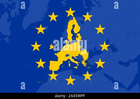 Flag of the European Union with the EU-member countries highlighted in yellow. Post brexit. - Stock Photo