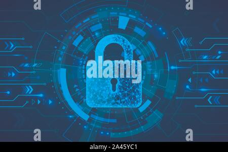 Internet security. Firewall or other software or network security. Cyber data defense or information protection concept.  Blue abstract technology bac - Stock Photo