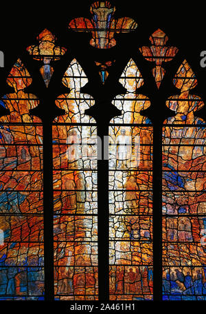 The Transfiguration window, by Thomas Denny (2010), in memory of Archbishop Michael Ramsay, Durham Cathedral, UK - Stock Photo