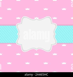 Princess Crown  Background with Frame Vector Illustration - Stock Photo