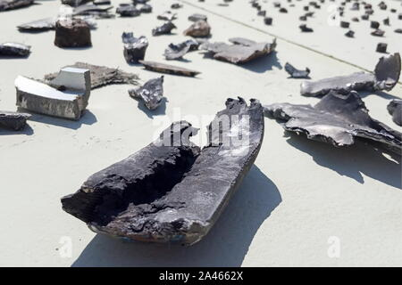 Saudi Arabia. 12th Oct, 2019. EASTERN PROVINCE, SAUDI ARABIA - OCTOBER 12, 2019: Pipe fragments at an oil processing facility of Saudi Aramco, a Saudi Arabian state-owned oil and gas company, at the Khurais oil field. On 14 September 2019, two of the major Saudi oil facilities, Abqaiq and Khurais, suffered massive attacks of explosive-laden drones and cruise missiles; the Houthi movement, also known as Ansar Allah, claimed responsibility for the attacks. Yulia Khazagayeva/TASS Credit: ITAR-TASS News Agency/Alamy Live News - Stock Photo