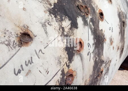 Saudi Arabia. 12th Oct, 2019. EASTERN PROVINCE, SAUDI ARABIA - OCTOBER 12, 2019: Damaged pipes at an oil processing facility of Saudi Aramco, a Saudi Arabian state-owned oil and gas company, at the Khurais oil field. On 14 September 2019, two of the major Saudi oil facilities, Abqaiq and Khurais, suffered massive attacks of explosive-laden drones and cruise missiles; the Houthi movement, also known as Ansar Allah, claimed responsibility for the attacks. Yulia Khazagayeva/TASS Credit: ITAR-TASS News Agency/Alamy Live News - Stock Photo