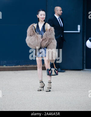 Chinese actress Zhou Dongyu attends the 2020 Sping Summer London Fashion Week in London, United Kingdom, 16 September 2019. - Stock Photo