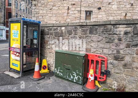 Pleasance, Edinburgh, Scotland, UK. 21st August 2019. A telephone and broadband exchange box at St. Leonards in Edinburgh. - Stock Photo