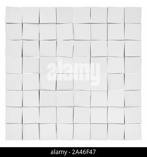 3d rendering of white uneven tiles each slightly tilted in different direction on white background. Abstract forms. Geometric tiles. - Stock Photo