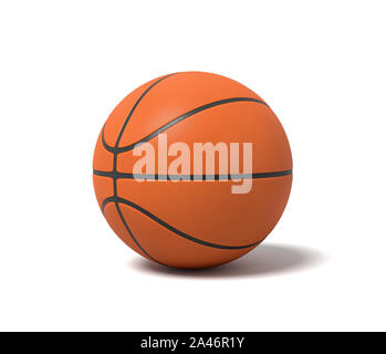 3d rendering of an orange basketball with black stripes standing on a white background. Team sport. Basketball gear. Sport activity. - Stock Photo