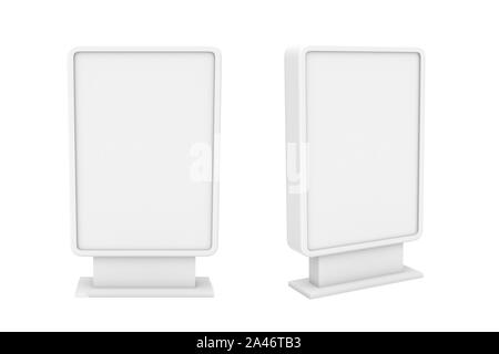 3d rendering of two small white blank street billboards without ads isolated on white background. Street advertizing. Billboards and street furniture. - Stock Photo