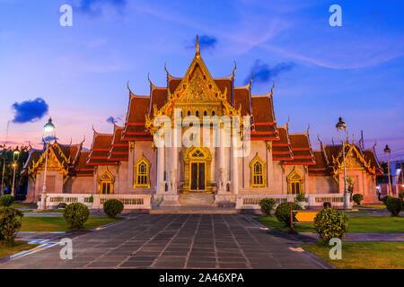 Bangkok, Thailand. The Marble Temple, Wat Benchamabopit Dusitvanaram at sunset. - Stock Photo