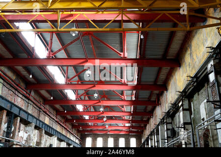 Empty factory building or warehouse building with concrete floor for industry background. - Stock Photo