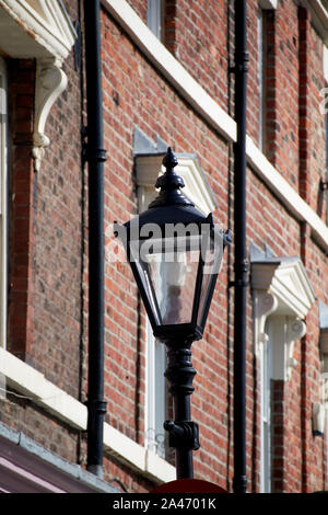 old gas street lamp and Georgian townhouses and architecture faulkner street georgian quarter Liverpool England UK - Stock Photo