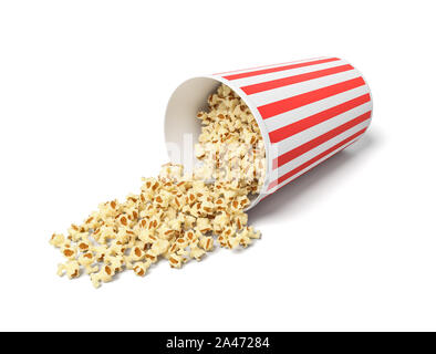 3d rendering of a round striped popcorn bucket lying on its side with popcorn spilling out of it. Movie snack. Popcorn time. Watch and eat. - Stock Photo
