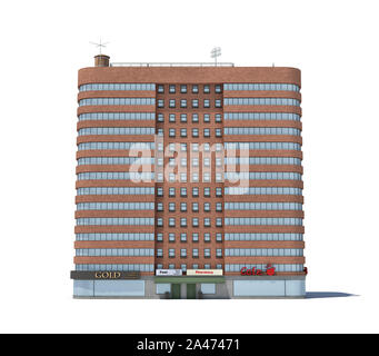 3d rendering of a red brick apartment building with shops on the ground floor. Living places. Urban residence. Condominium. - Stock Photo
