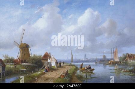Fishing folk in a Dutch village, by Charles Henri Joseph Leickert. - Stock Photo