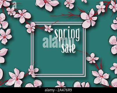 Japanese template with colorful sale for marketing design. Spring blossom background. Marketing business concept. Shopping, offer, discount background - Stock Photo