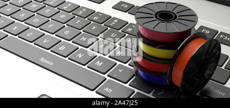 3D printer computer software. Reels of colorful plastic filaments for 3D printing on a laptop keyboard, banner. 3d illustration - Stock Photo