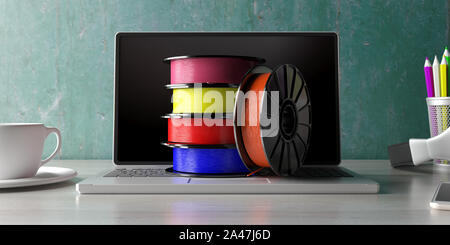 3D printer computer software. Reels of colorful plastic filaments for 3D printing on a laptop, office desk background. 3d illustration - Stock Photo