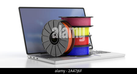 3D printer computer software. Reels of colorful plastic filaments for 3D printing on a laptop isolated on white background. 3d illustration - Stock Photo