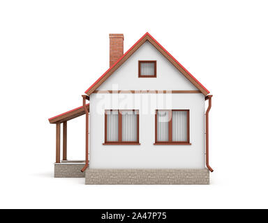 3d rendering of a small residential house with a chimney and a red roof on a white background. Home and residence. Retro home. Detached house. - Stock Photo