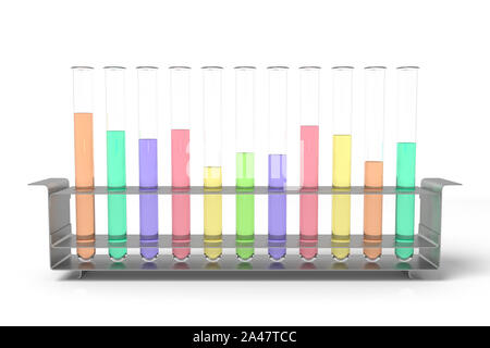 3d rendering of laboratory test tubes set with colored liquids isolated on white background. Chemistry glassware. Flasks and tubes. Medical industry. - Stock Photo