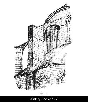 Fig 41 -Flying buttress of the Apse of St. Leu d‥99esserent. - Stock Photo