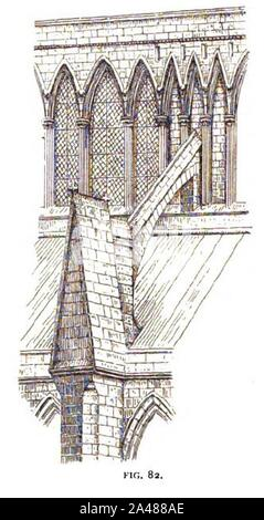 Fig 82 -Flying Buttress and Clerestory, Nave of Lincoln. - Stock Photo