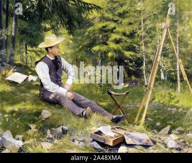 Paul Gustave Fischer - The Artist Painting En Plein Air. - Stock Photo