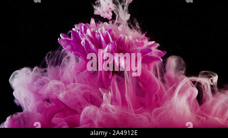 Splashes of colored ink in water, bright colors. Creative and color mix, abstract swirls of pink colors on a black background.