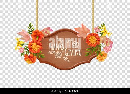 Congratulatory inscription - happy thanksgiving and vector hanging sign with floral bouquet. Wooden singboard hanging on ropes with autumn flowers and - Stock Photo