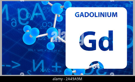 Gadolinium Gd, chemical element sign. 3D rendering isolated on white background. Gadolinium chemical 64 element for science experiments in classroom s - Stock Photo