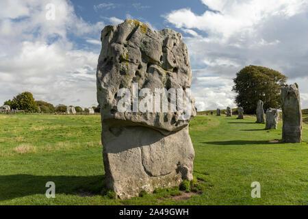Standing stones at Avebury, Wiltshire a UNESCO World Heritage Site - Stock Photo