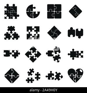 Jigsaw puzzle icons set. Simple set of jigsaw puzzle vector icons for web design on white background - Stock Photo