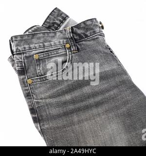 Fabric Texture, Close Up of Black Denim Jean Isolated On A White Background. - Stock Photo