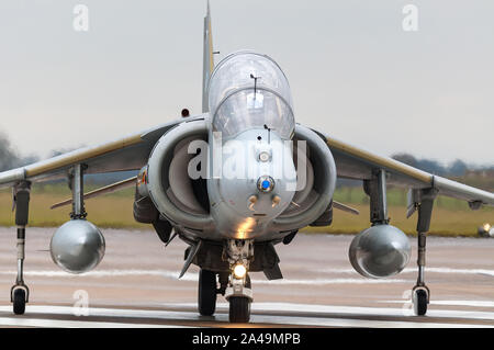 RAF Harrier GR9 taxiing on runway after final flight on 15th December 2010, RAF Cottesmore - Stock Photo