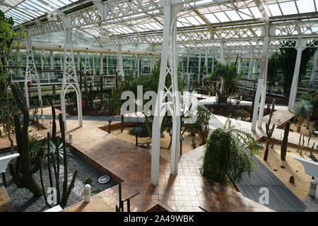 MADRID, SPAIN, 8th August, 2019. Botanical garden in the crystal palace of Arganzuela. - Stock Photo