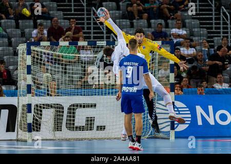ZAGREB, CROATIA - SEPTEMBER 14, 2019: EHF man's Championship League. PPD Zagreb vs. Paris Saint-Germain. SYPRZAK Kamil (21) shoot on the goal - Stock Photo