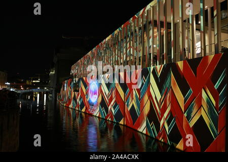 Berlin, Germany. 10th October 2019-- James-Simon-Galerie at the 15th Festival of Lights in Berlin. - Stock Photo