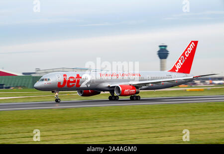 Jet2, Boeing, 757-200, G-LSAA, at Manchester Airport - Stock Photo