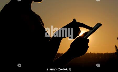 Woman using smartphone in forest at sunset - Stock Photo