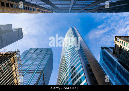 Upward View of Downtown Chicago Skyscrapers