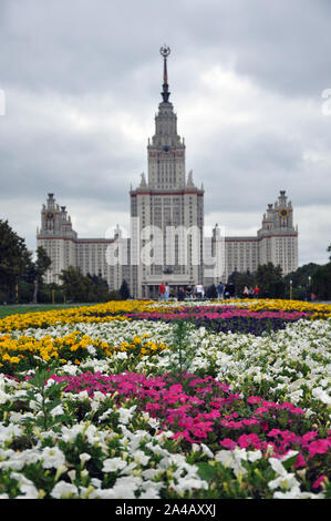 Summer tulip flowers at Lomonosov Moscow State University - Stock Photo