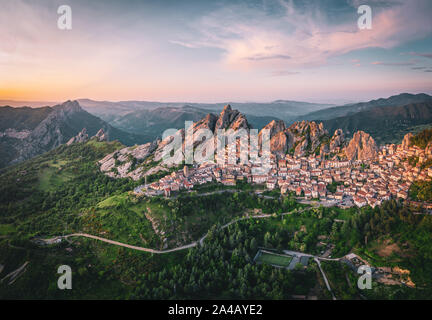 Aerial view of Pietrapertosa rural village in Apennines Dolomiti Lucane. Basilicata, Italy, at sunset - Stock Photo