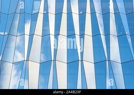 Closeup View Of Diamond Shape Curtain Walls. Clear Glass Crystal Windows Of Building. Spandrel Facade System. - Stock Photo